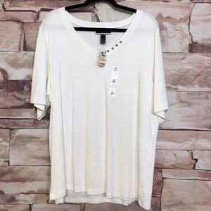 NWT Karen Scott 2X  Cotton V-neck elbow sleeves